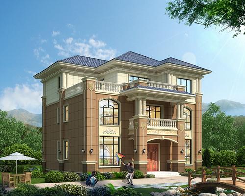 稳重大方带回旋楼梯及传统堂屋农村新款欧式三层楼别墅