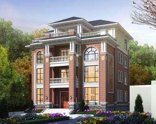实地设计13米x16米四层欧式美观实用新农村自建别墅